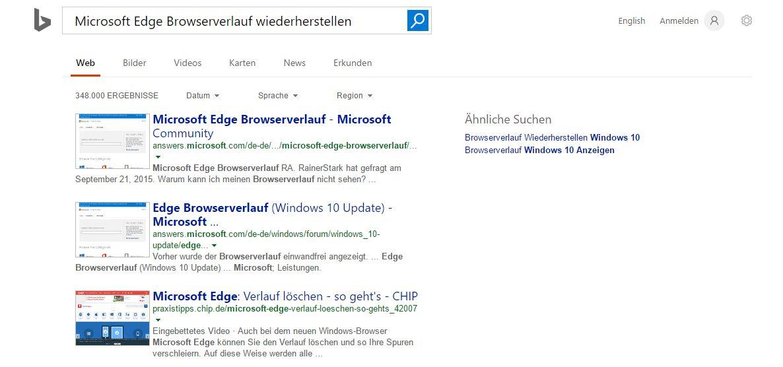 Microsoft Edge Browserverlauf wiederherstellen