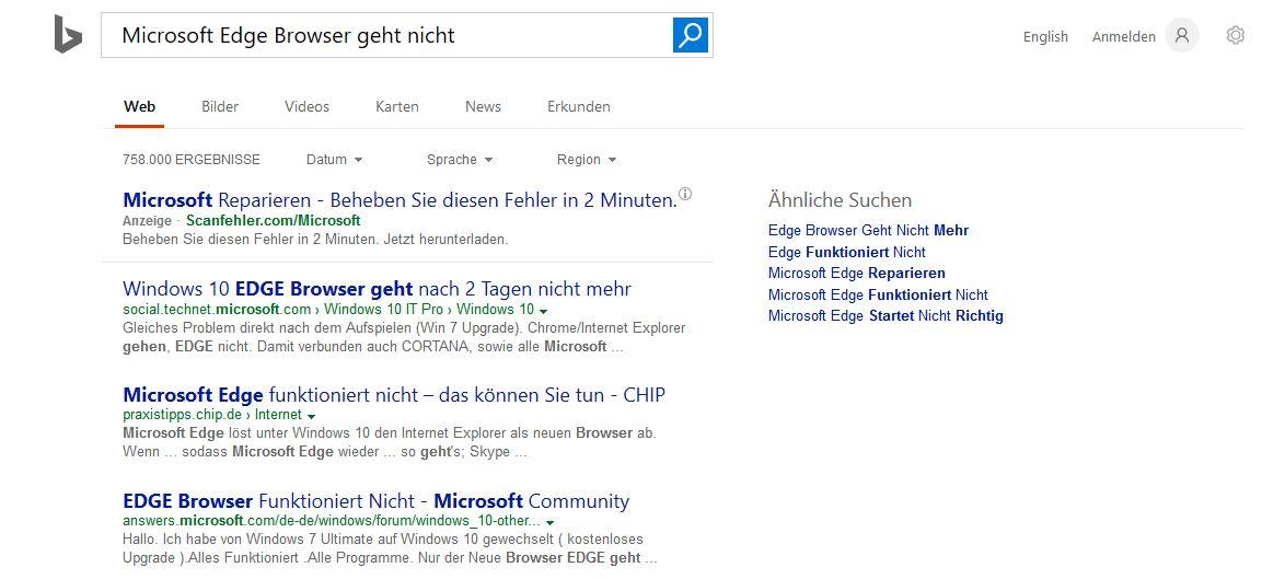 Microsoft Edge Browser geht nicht